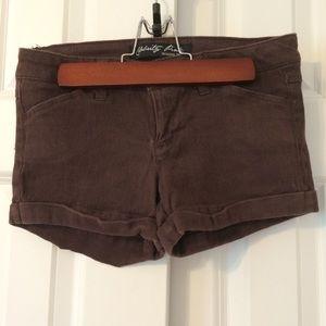 Celebrity Pink Dark brown soft denim shorts